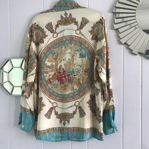 Vintage Tops - Vintage Silk Button Down Shirt Baby Blue